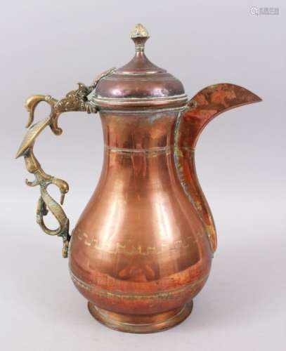 A LARGE 19TH CENTURY INDIAN KASHMIR COFFEE POT with unusual double duck handle.