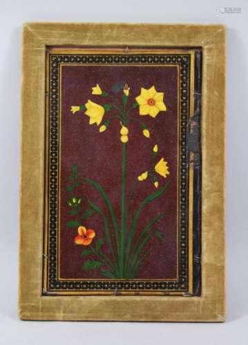A 19TH CENTURY QAJAR LACQUER PAPIER MACHE PANEL of flowers, 28cm x 18cm in a velvet frame.