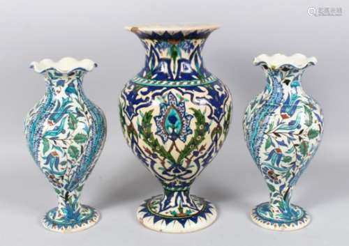 THREE 19TH CENTURY OTTOMAN TURKISH KUTAHIYA VASES, large vase 32cm high, pair of vases 26cm high.