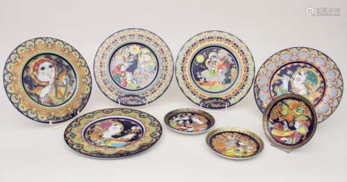 Konvolut 8 Teller / A set of 8 plates, Bjørn Wiinb…