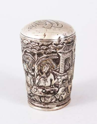 A GOOD 19TH CENTURY CHINESE SOLID SILVER CANE TOPPER, depicting figures within landscapes, the top