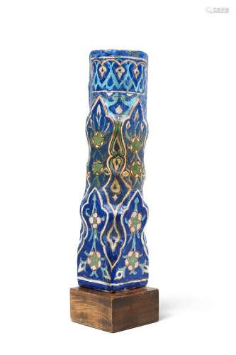 A Timurid moulded cuerda seca pottery tile Persia, circa 1450