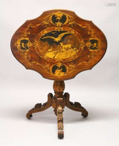A LATE 19TH CENTURY BLACK FOREST INLAID WALNUT TRIPOD TABLE, the shaped top inlaid with mountain
