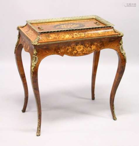 A 19TH CENTURY BURR WALNUT, ORMOLU AND MARQUETRY JARDINIERE, with removable cover, zinc liner, on