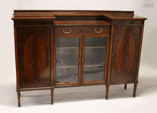 A GOOD EDWARDIAN MAHOGANY INLAID STANDING CUPBOARD, with two tier top, central single drawer over