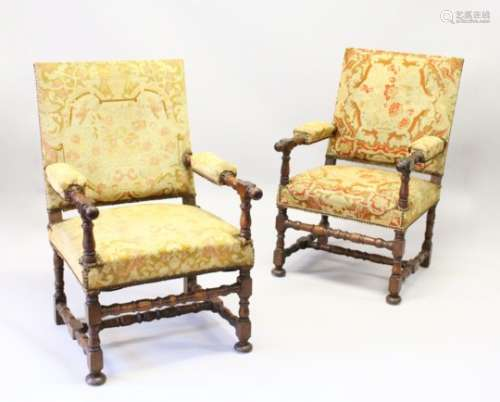 A GOOD PAIR OF 19TH CENTURY WALNUT FRAMED OPEN ARMCHAIRS, with tapestry upholstered backs, arms