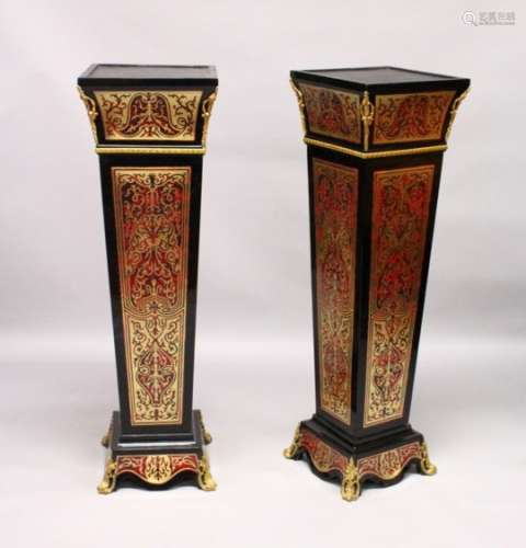 A PAIR OF BOULLE STYLE TAPERING SQUARE COLUMNS, with ormolu mounts. 4ft 0ins high.