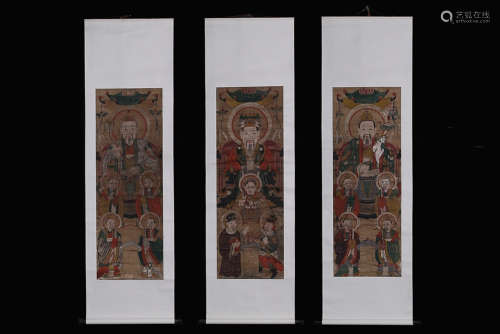 TAOISM 'SANQING' PAINTING SCROLL 3-PIECE
