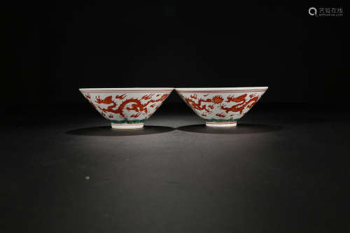 RED AND GREEN COLOR SEA WATER PATTERN HAT CUP IN PAIR