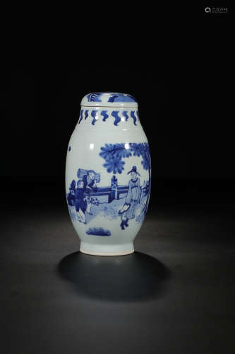BLUE WHITE FIGURE STORY CAPPING VESSEL