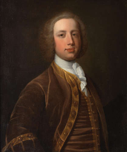 Attributed to George Knapton(London 1698-1778) Portrait of Ambrose Isted of Ecton, Northamptonshire, half-length, in a brown coat with gold trim