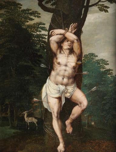 Follower of Jan van Scorel(Alkmaar 1495-1562 Utrecht) Saint Sebastian