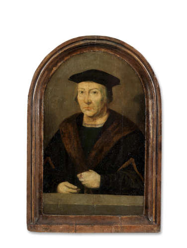 After Joos van Cleve16th Century Portrait of a gentleman, said to be Antoine Humbelot, half-length, in a fur-trimmed robe in an integral frame