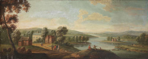 Follower of Peter Tillemans(Antwerp 1684-1734 Norton) A wooded landscape with figures by a river
