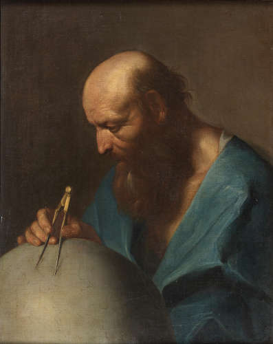 Attributed to Giuseppe Antonio Petrini(Carona 1677-1759) Study of a geographer wearing a blue robe