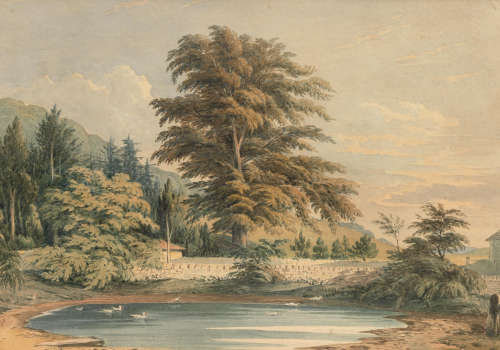 John Varley OWS(London 1778-1842) A walled pond, Polesdon Lacey