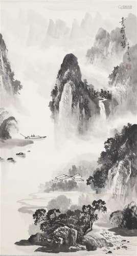 ECOLE CHINOISE (Actif XXe siècle) \nPaysage taoïste…