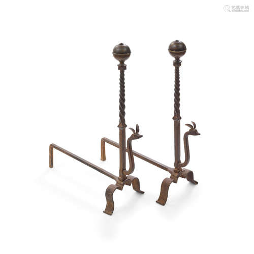Set of Andironsearly 20th centurywrought ironheight 32 3/4in (83.2cm); width 10 3/4in (27.3cm); depth 27 1/4in (69.2cm)  William Hunt Diederich (1884-1955); Attributed to