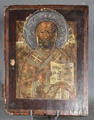 Icône russe sur panneau de bois avec couronne arge…