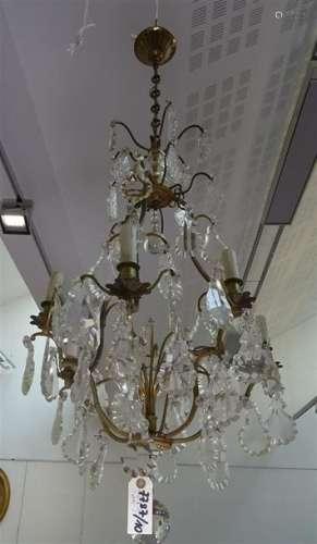 Lustre cage en bronze à six bras de lumière et pen…