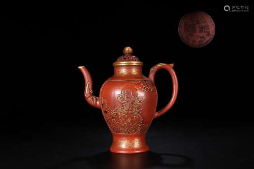 FUJI MARK GOLD-EDGED ZISHA TEAPOT