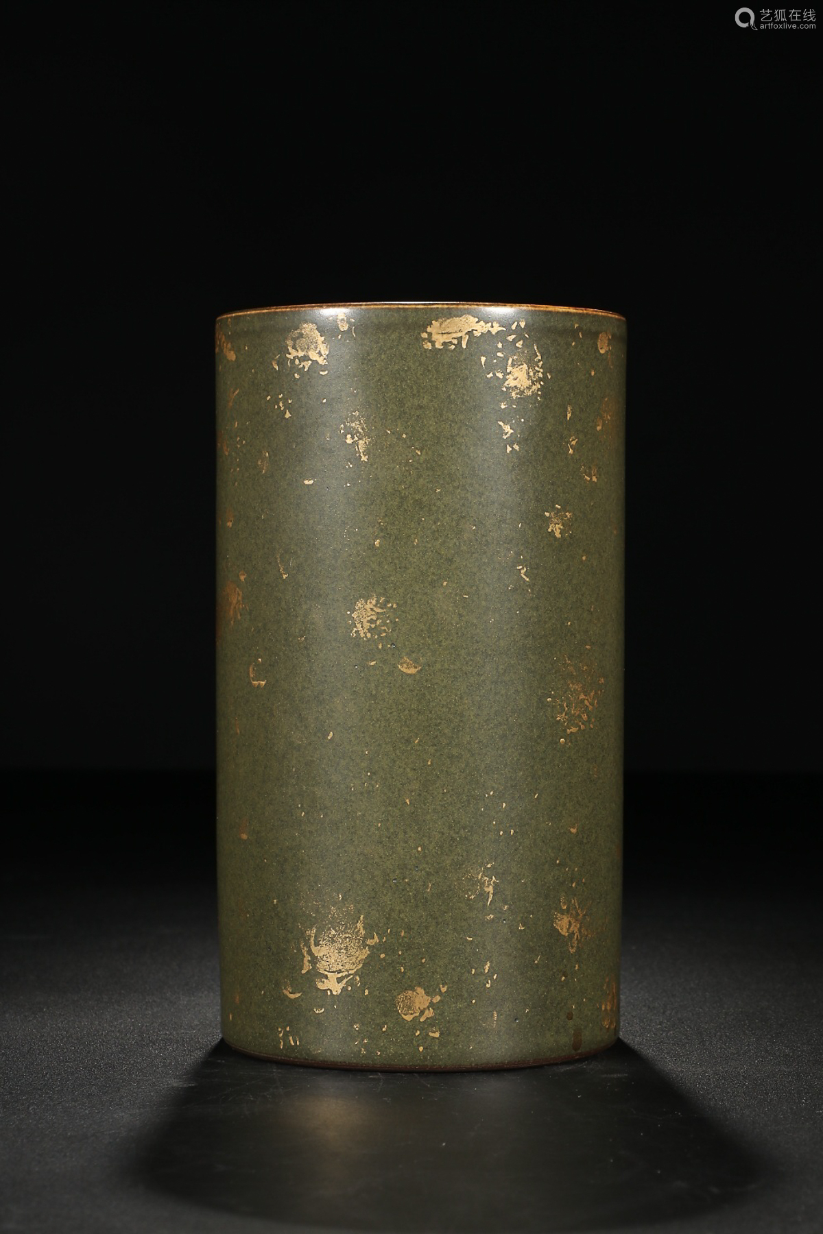 QIANLONG MARK TEA GLAZE PEN HOLDER