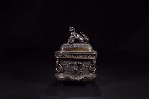 XUANDE MARK BRONZE SQUARE CAPPING CENSER