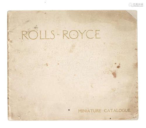 A Rolls-Royce 'Miniature Catalogue' for January 1914,