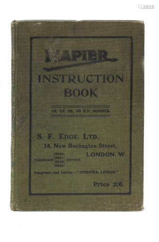A 1911 Napier Instruction Book with 1912 prices addendum,