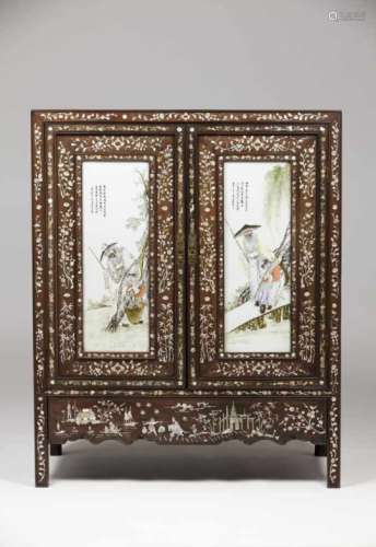 A low cupboardTamarind with mother-of-pearl inlaysDoor fronts with Chinese porcelain plaques of