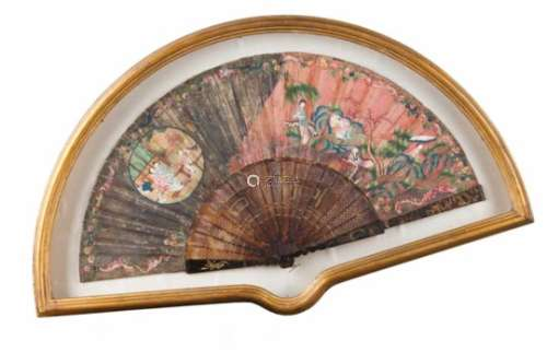 A boxed fanPierced and relief tortoiseshell framePainted leaf depicting chinese daily scenesFramed