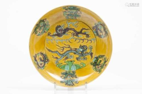 A plateDragon green and aubergine enamelled decoration on a yellow groundDaoguang marks (1821-