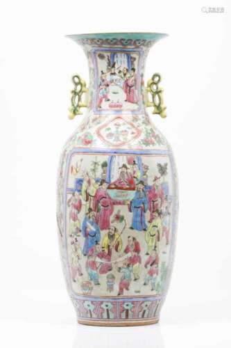 A large vase Chinese porcelain Famille Rose and gilt decoration depicting oriental figures