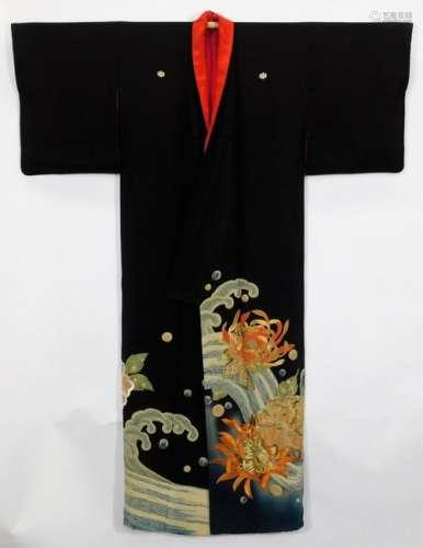 Japanese Meiji Period Floral Waves Tomesode Kimono