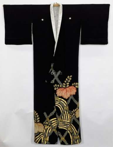Meiji Period Black and Gold Tomesode Kimono