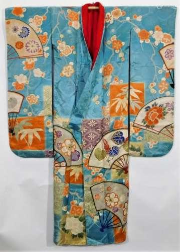 Meiji Period Pale Blue and Flowers Furisode Kimono