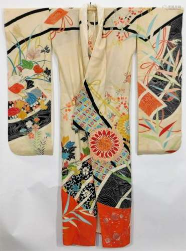 Meiji Period Blue Painted Flowers Furisode Kimono