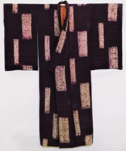 Japanese Edo Period Purple Tie Dyed Kimono