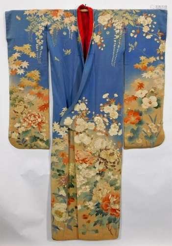 Meiji Period Yuzen Hand Painted Furisode Kimono