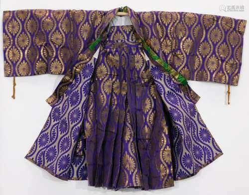 Meiji Period Purple and Gold Haori and Hakama Set