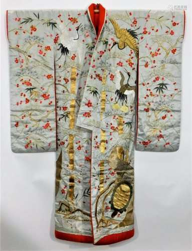 Edo Period Embroidered Gold Crane Uchikake Kimono
