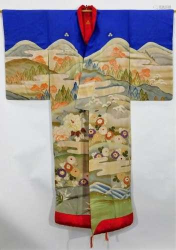 Meiji Period Hand Painted Flowers Uchikake Kimono