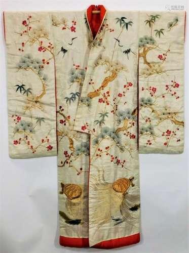 Edo Period Embroidered White Silk Uchikake Kimono