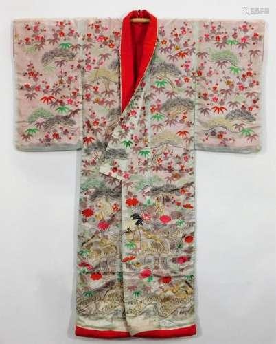 Japanese Edo Vibrant Landscape Uchikake Kimono