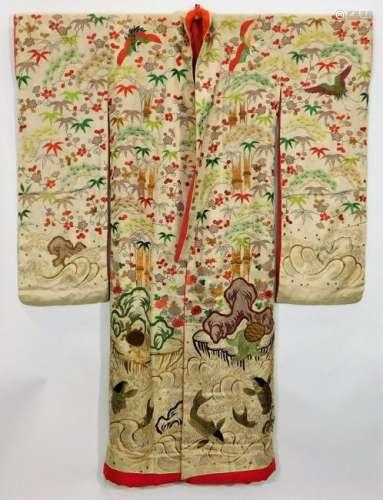 Edo Period Yuzen Hand Painted Uchikake Kimono