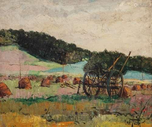 Estelle JUSTE (Uccle, 1894 1962) \nPAYSAGE AUX MEUL…
