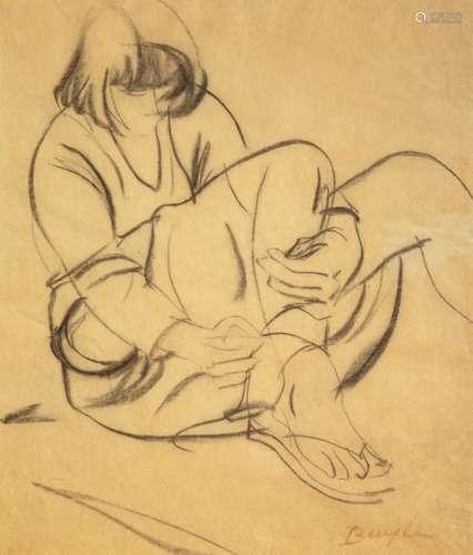 Robert BUYLE (1895 1976) \nJEUNE FEMME ATTACHANT SE…