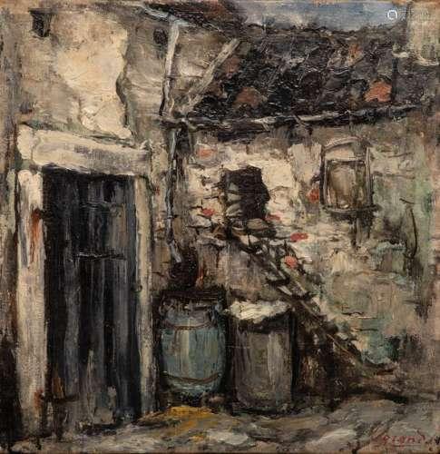 Jean LEGRAND (Namur, 1906 ?) \nCOUR DE FERME \nHuile…