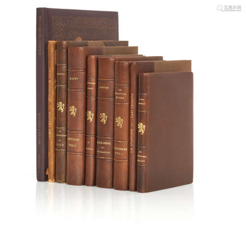 Polo Interest - A group of nine vintage, custom leather bound books on polo