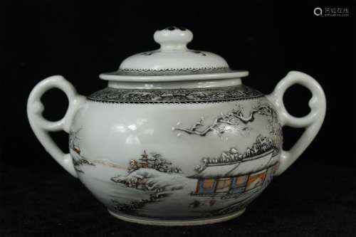 A Chinese Famille-Rose Porcelain Sugar Jar with Cover